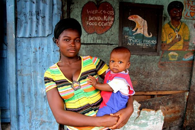 A mother and her child from West Point, a low-income neighbourhood of Monrovia, Liberia (file photo). It is estimated that 20,000 girls under the age of 18 give birth everyday in developing countries — amounting to 7.3 million births a year. Research shows that the media is the main source of information for the youth but this did not provide enough information on SHR or family planning. Credit: Travis Lupick/IPS