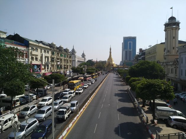 Central Yangon, Myanmar (file photo). According to locals there is a high level of uneasy calm right now and the army has focused on taking control of the capital Nay Pyi Taw. Credit: Stella Paul/IPS