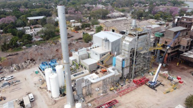 The Unitán company's biomass electricity generating plant in the municipality of La Escondida, in the northeast Argentine province of Chaco, which began to operate in December, cost 18 million dollars to build and will supply up to 6.6 MW to the country's power grid. CREDIT: Courtesy of Unitán