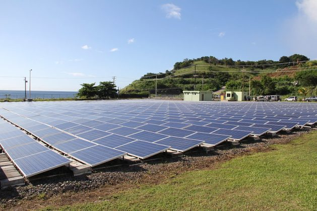 Photovoltaic panels on St. Vincent and the Grenadines. Of the trillions of dollars set aside for COVID-19 recovery, a small percentage has been used in green recovery initiatives according to a United Nations Environment Programme (UNEP) report. Credit: Kenton X. Chance/IPS