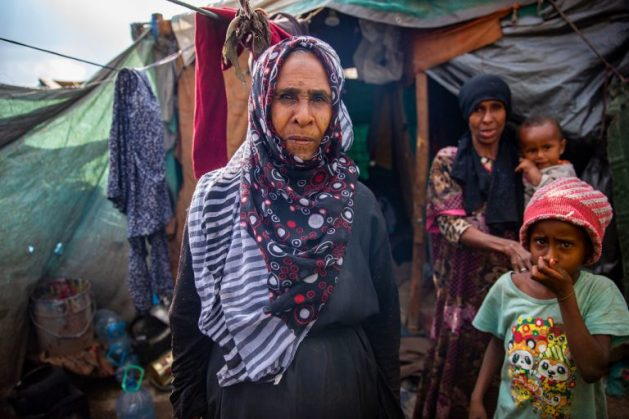 A displaced Yemeni woman stands outside a makeshift shelter that she shares with her extended family. U.S. Ambassador Linda Thomas-Greenfield said while the Biden administration is 'stepping up its diplomacy' to end the war, peace is impossible if the Houthis continue their relentless attacks against the Yemeni people and Yemen's neighbours. (file photo) Courtesy: IOM/O. Headon