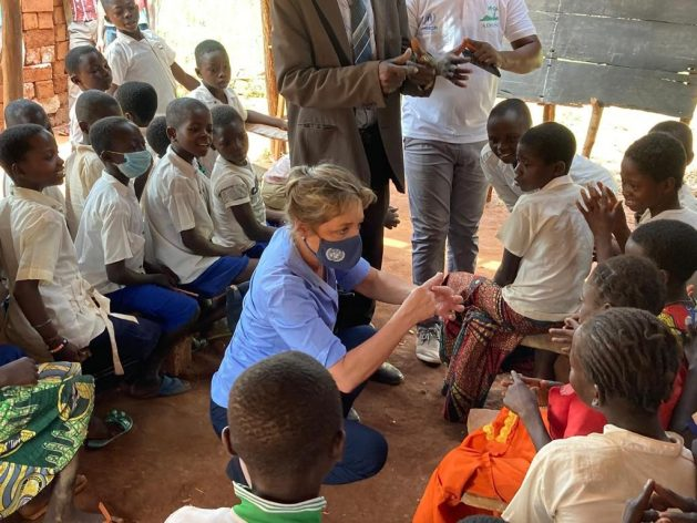 Education Cannot Wait (ECW) Executive Director Yasmine Sherif pictured here during a visit to a refugee site in the village of Modale, Democratic Republic of the Congo (DRC). Sherif says that with mental health and psychosocial support, along with several other components, children in crisis situations can be empowered to make it through the difficult situations they face and reach their potential. Courtesy: Education Cannot Wait