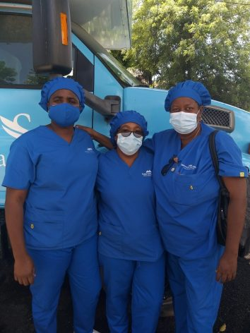 Members of a Community Health Nursing Team in Roseau, Dominica According to the World Health Organisation at least 115,000 health and care workers globally may have lost their lives during the COVID-19 pandemic. Credit: Alison Kentish/IPS