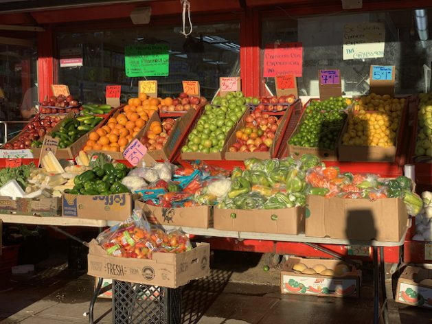 The most important goal of a food system or of agricultural production is to increase food production for our increasing population, but nutrition is essential. Produce stall in Harlem, New York. Credit: Alison Kentish/IPS