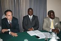 (l-r): IMF representative Joannes Mongardini, Minister Majozi Sithole and United Nations Resident Coordinator Musinga Bandora Credit: Mantoe Phakathi/IPS