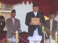 Newly elected Prime Minister Jhala Nath Khanal taking the oath of office from President Ram Baran Yadav. Credit: Damakant Jayshi