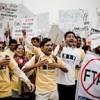 Protestors in New Delhi, India, demonstrating against the EU-India trade. Credit: Rico Gustav, APN+/Médecins Sans Frontières
