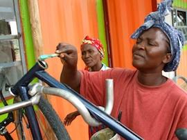 Repairing bicycles in Rundu, Namibia. Credit:  Gail Jennings/IPS