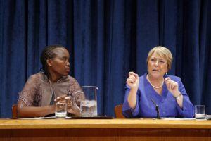 "UN Women's Michele Bachelet and Unity Dow [left], Botswana's first female judge, launch ""Progress of the World's Women"". Credit: UN Photo/Devra Berkowitz"