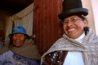 Quechua woman Delfina Laura and Aymara woman Flavia Amaru, in Calamarca. Credit: Franz Chávez/IPS
