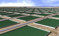 A digital rendering of algae-ethanol production pools.  Credit: BioFields