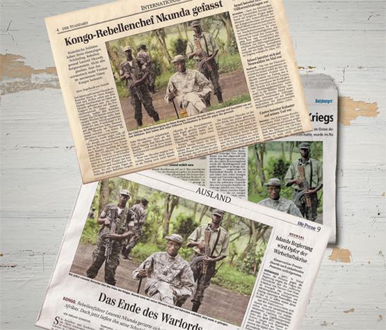 Kriegsfürst aus dem Herz der Finsternis: Am Samstag, 24. Jänner 2009, veröffentlichten alle drei österreichischen Qualitätsmedien dasselbe Bild des kongolesischen Warlords Laurent Nkunda.