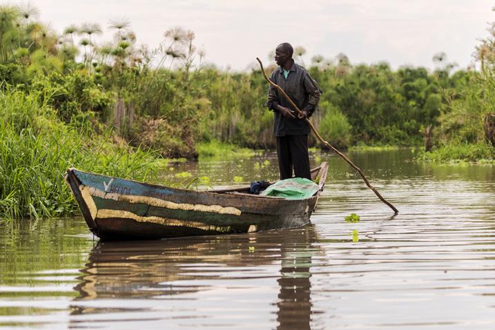 Ein Fischer bahnt sich seinen Weg durch die Vegetation am Ufer des Victoriasees. (Bild: Jen Watson, Shutterstock.com)