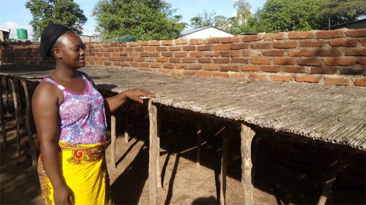Die Fischhändlerin Judith Twaili vor leeren Trockengestellen (Bild: Mabvuto Banda/IPS)