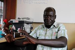 James Ninrew at his office in Juba, South Sudan.  - Jared Ferrie/IPS