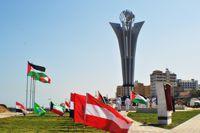 The memorial at Gaza port marks the Israeli massacre of the Freedom Flotilla in May 2010. - Eva Bartlett