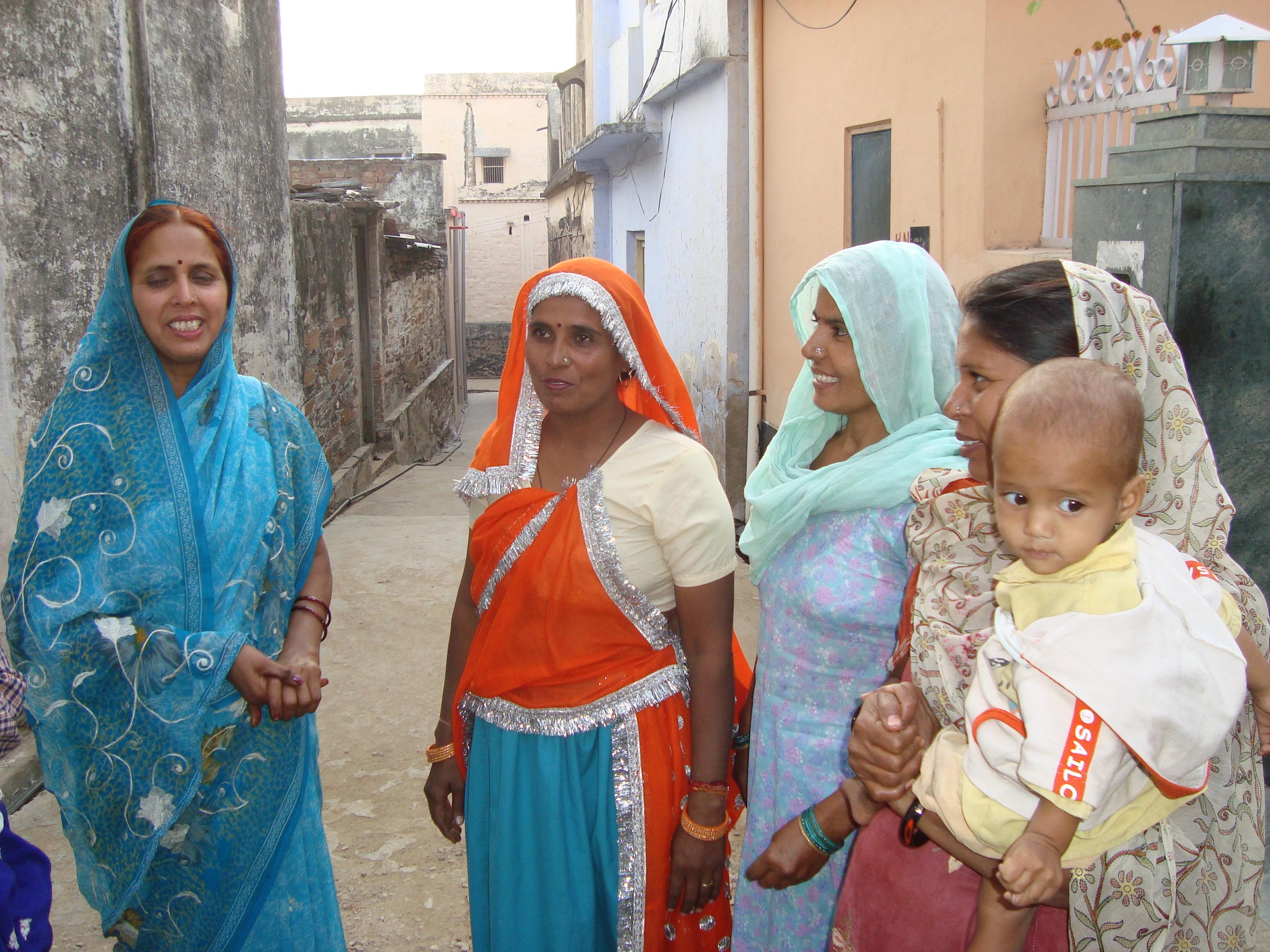 Maya Yadav (extreme left) mobilises women for gender activities